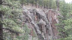 Rock Climbing Photo: DAS doing the layback thing, Arjun up top belaying...