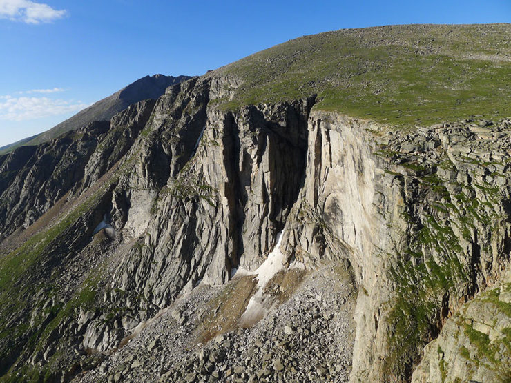 Rock Climbing Photo: Black Wall, still seeping in late July