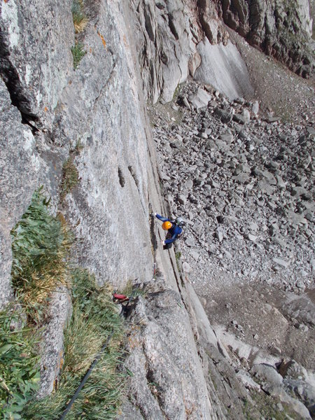 Tom Jensen completing P1 crux, great pitch