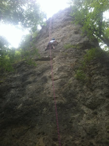 Climbing 'The Razor' on top rope, July 22nd, 2012.