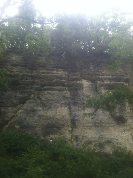 Wide shot of the most of the 'Drive In Wall', with climber on the 'A-Wall' route.