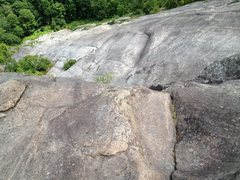 Rock Climbing Photo: Looking down the slabs from atop the 5th pitch (af...
