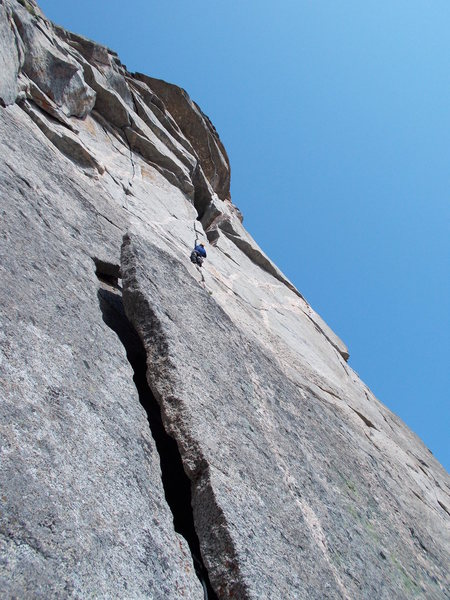 Looking up P2 from P1 belay