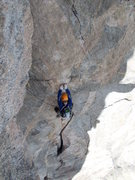 Rock Climbing Photo: P4 10d crux section right after leaving belay, sho...
