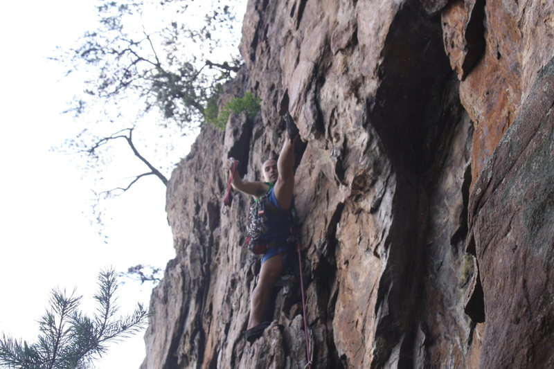 Davids Castle Wall<br> <br> Fourplay (5.4) trad<br> <br> Crowders Mountain State Park, North Carolina