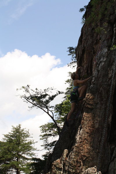 Nuke The Whales Wall<br> <br> Johanna Nevins 'pinkpoints'<br> A Fine Line(5.7) trad<br> <br> Crowders Mountain State Park, North Carolina