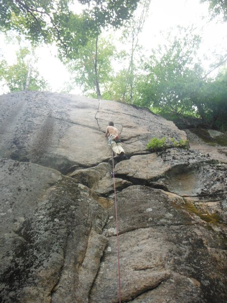 Paul Roberts on the head point attempt, right below the crux
