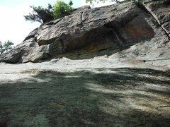 Rock Climbing Photo: looking up the slab to the roof of Adirondack Reha...