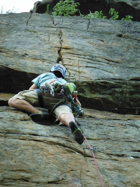 Paul Roberts right below the crux of Roaches on the Wall