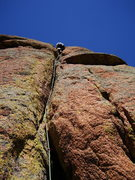 Rock Climbing Photo: Brian busting up the burly, sustained, 10a pitch 2...