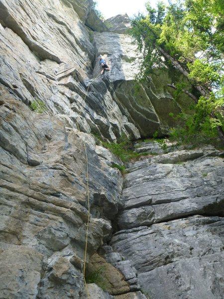 Staying on route on güggel von unten 6c