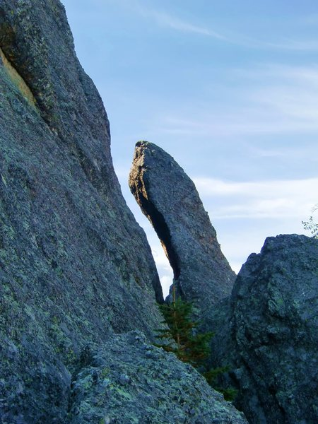 """Gobs of Knobs Pinnacle showing the """"step across""""."""