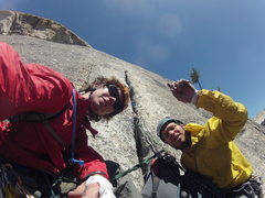 Rock Climbing Photo: Looking up at the second pitch of west crack on DA...