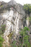 Rock Climbing Photo: Sly's Moranas, Main Wall, our first 5.13