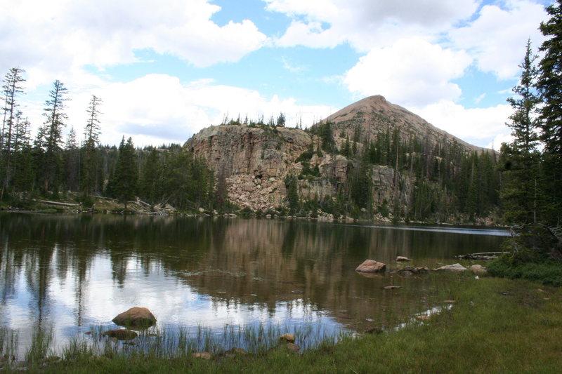 Rock Climbing Photo: cliff lake crag