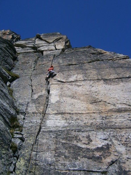 Fanstastic crack climbing in pitch two