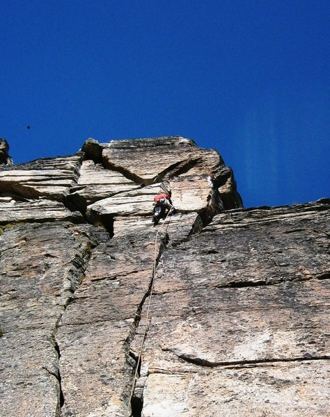 Rock Climbing Photo: Interesting off-width section in the upper third o...