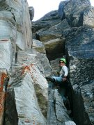 Rock Climbing Photo: The entertaining final pitch up to the top-out.  L...