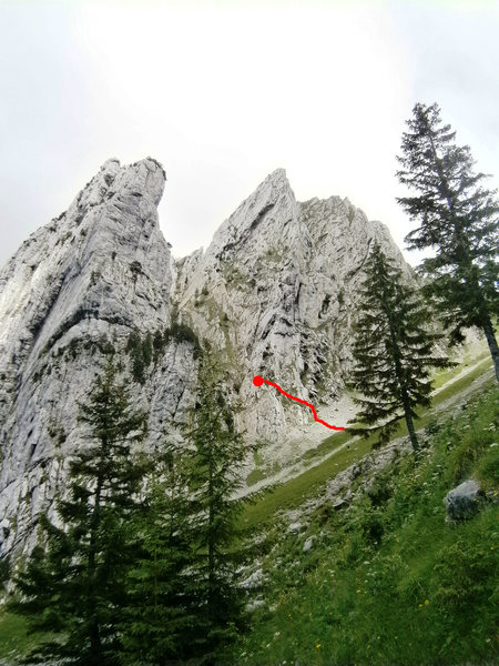 Namensloser Turm, with the scramble up to the base of the climb marked in red.
