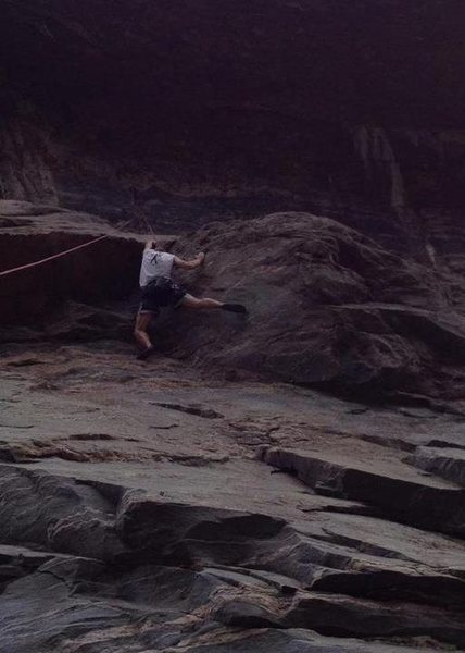 Mark at the overhang/crux of The Put In - awesome holds once you get positioned properly