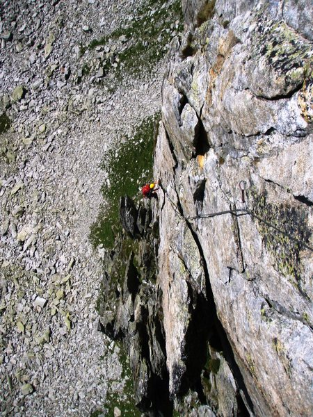 Pitch five of the direct south ridge, 5c