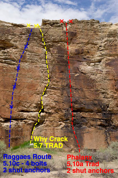 Health Wall Route info<br> <br> Reggae's Route 5.10c (2 shut anchors)<br> Why Crack 5.7 Trad (No Anchor Bolts)<br> Phalanx 5.10a Trad (2 shut anchors)