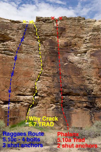 Health Wall Route info<br> <br> Reggae's Route 5.10c (2 shut anchors)<br> Why Crack 5.7 Trad (No Anchor Bolts)<br> Phalanx 5.10a Trad (2 shut anchors)