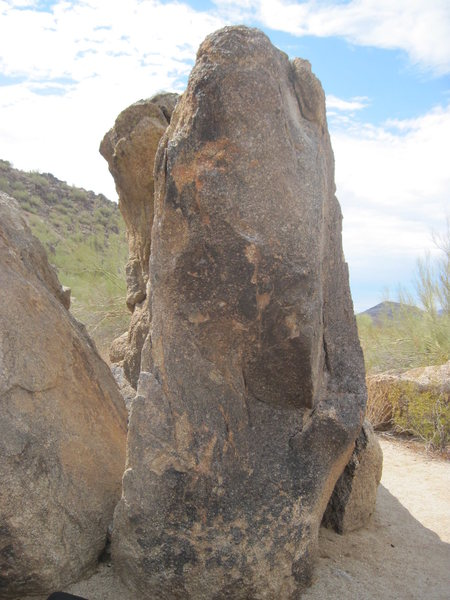 "Right side of ""Split Boulders"", looking at #4 in Marty's guide V0."