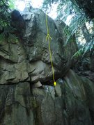 Rock Climbing Photo: left cheek v4 - start in jugs at about 5 feet head...