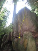 Rock Climbing Photo: right cheek v2 - start on the same jug as left che...