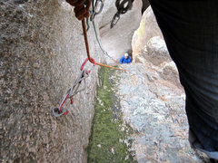 Rock Climbing Photo: Looking down on pitch 1