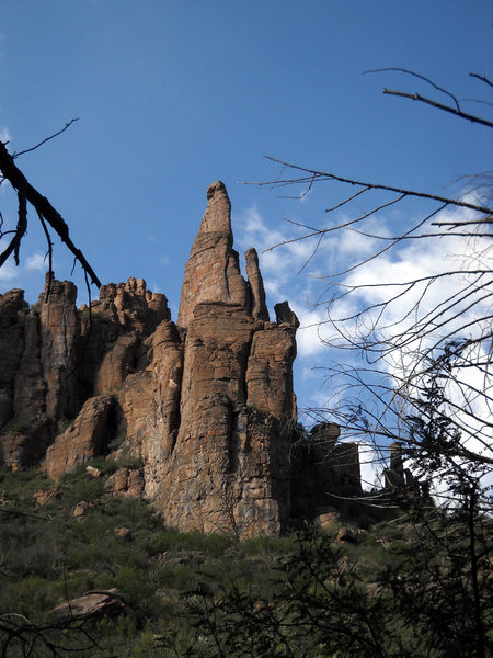 Awe inspiring tower in Devil's Canyon south of Hackberry Creek