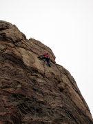 Rock Climbing Photo: Climber high up on Weathertop