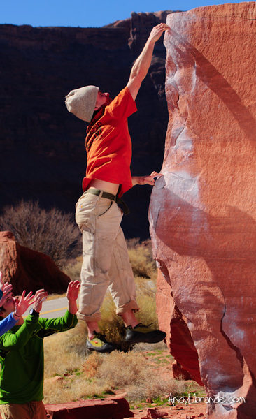 Rock Climbing Photo: Rambo just missing the top of Silly Wabbit.   Feb ...