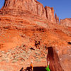 Chris sending the sit-start to &quot;Slapping the Block&quot; also know as the Blunt Arete. <br> <br> Feb 2012<br> <br> http://andylibrande.com/news/2012/05/moab-bouldering-in-february/