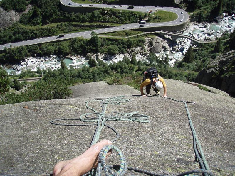Rock Climbing Photo: Typical Schoellenen climbing - pitch three