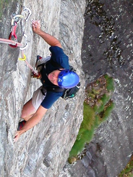 Brilliant technical face climbing in the first of two crux 6c pitches in the headwall.