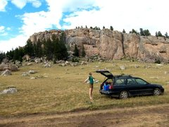 Rock Climbing Photo: Epitome of roadside cragging. Possible to camp rig...