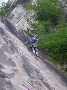 Rock Climbing Photo: Taking a call on the slabby intro pitches of Spero...