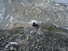 Rock Climbing Photo: A nice finish to the route, up a line of quartz