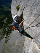 Rock Climbing Photo: Pitch six, pulling over onto the belay ledge