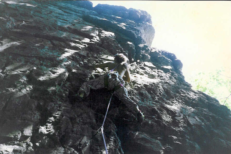 Rock Climbing Photo: getting ready to pull the crux up to the left