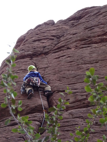 Climber about half way up the route
