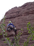 Rock Climbing Photo: Climber about half way up the route