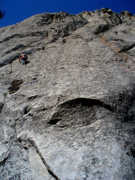 Rock Climbing Photo: Up the face and into the mossy crack