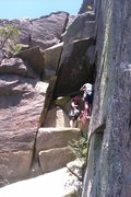 Rock Climbing Photo: A party belaying from Pigeon shit ledge. The Overh...