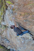 Rock Climbing Photo: middle section moves... getting into the crystal g...