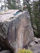 Lewis setting a TR to work the boulder problem. Unknown boulder problem - anyone have info about this huge rock?
