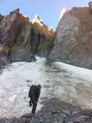 Rock Climbing Photo: Looking up at the snow field below SRA. Decided to...