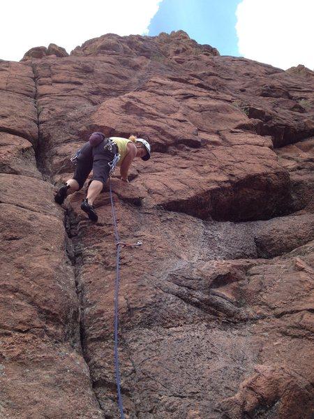 Rock Climbing Photo: Cindy down low.